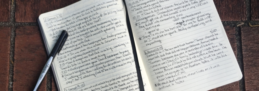 journal on brick steps